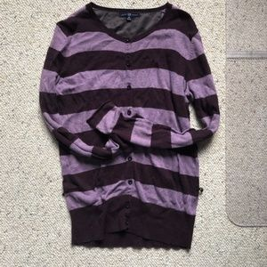 Gap Striped Sweater Purple Medium